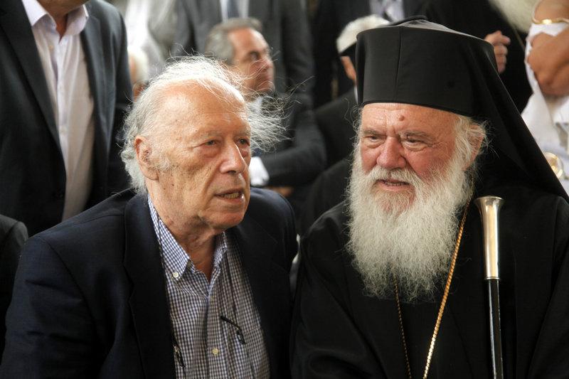 Ο Γιώργος Κατσιμπάρδης με τον αρχιεπίσκοπο Αθηνών