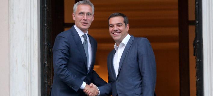 Ο Αλέξης Τσίπρας και ο Γενς Στολτενμπεργκ/ Φωτογραφία intime news