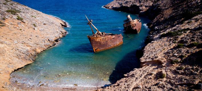Το ναυάγιο βρίσκεται στον όρμο του Λίβερου, ΑΕΡΟΦΩΤΟΓΡΑΦΙΑ ΑΝΤΩΝΗΣ ΝΙΚΟΛΟΠΟΥΛΟΣ/EUROKINISSI