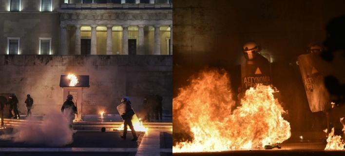 Χάος έξω από τη Βουλή -Στις φλόγες το φυλάκιο του Αγνωστου Στρατιώτη