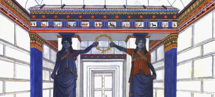 Η τελευταία μαγική εικόνα: Η πύλη των Καρυάτιδων της Αμφίπολης σε μια χρωματιστή αναπαράσταση