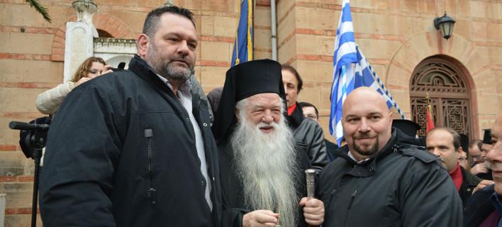Ο Αμβρόσιος, στο συλλαλητήριο του Αιγίου για τη Μακεδονία, με τον Παναγιώταρο και τον Λαγό της ΧΑ