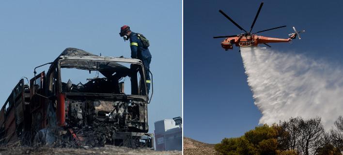 Το πύρινο μέτωπο στο Λαγονήσι προκάλεσε ζημιές σε σπίτια και οχήματα -Τραυματίστηκαν πυροσβέστες