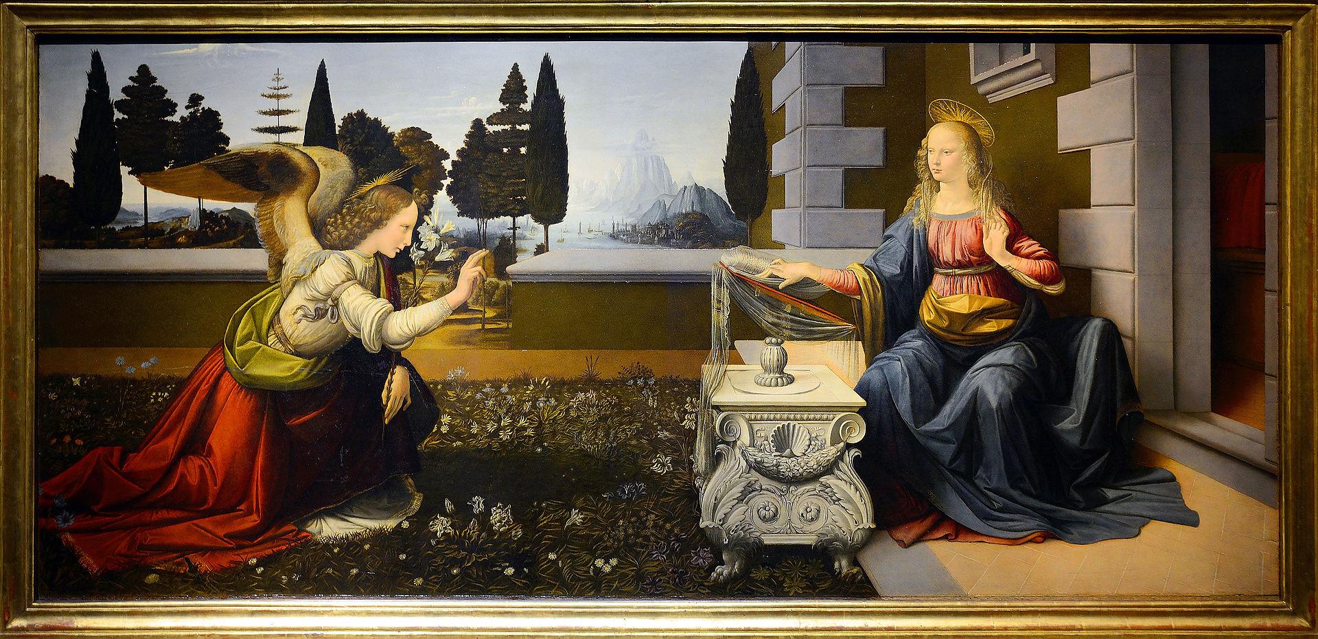 O «Ευαγγελισμός της Θεοτόκου» θεωρείται επισήμως μέχρι σήμερα το πρωιμότερο έργο του Λεονάρντο (Φωτογραφία: Wikipedia)