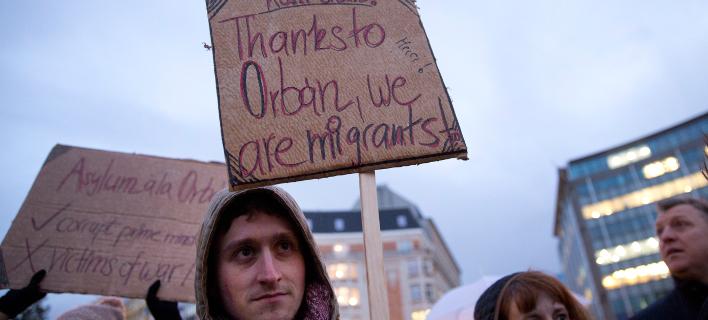 Στιγμιότυπο από διαδήλωση κατά του Βίκτορ Ορμπαν στο Βέλγιο / Φωτογραφία: AP Images