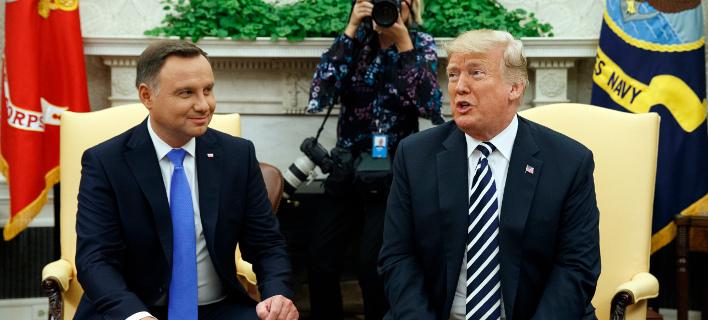 O Nτόναλντ Τραμπ και ο Αντρέι Ντούντα/ Φωτογραφία AP images