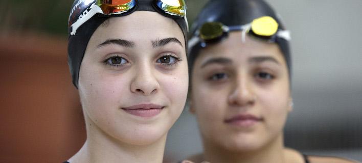 H Γιούσρα και η Σάρα Μαρτίνι σε αγώνες κολύμβησης, φωτογραφία: apimageς