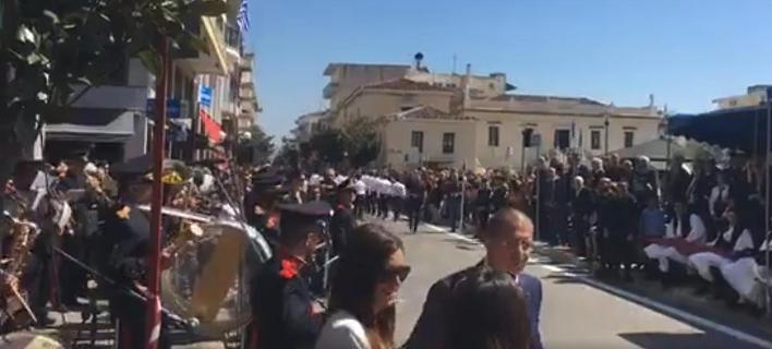 Στιγμιότυπο από τη σημερινή παρέλαση στο Αργος / Φωτογραφία: Facebook/argonafplia