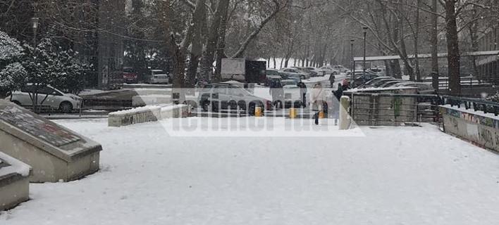 Χιονισμένο τοπίο στο Αριστοτέλειο