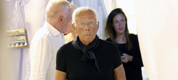 Ο σχεδιαστής μόδας Giorgio Armani στη Μύκονο, Φωτογραφία: NDP photo agency