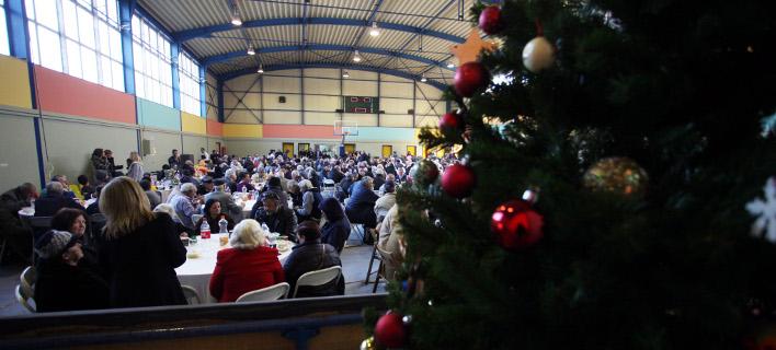 Στιγμιότυπο από παλαιότερο χριστουγεννιάτικο γεύμα για αστέγους / Φωτογραφία: EUROKINISSI