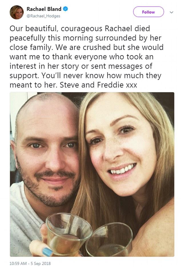 Το τραγικό τέλος δημοσίευσε ο σύζυγό της με αυτό το μήνυμα στο Twitter.