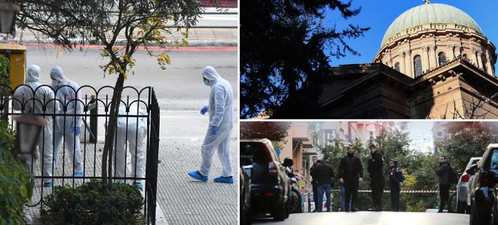 Αστυνομικοί και άνδρες της αντιτρομοκρατικής έξω από το ναό του Αγίου Διονυσίου