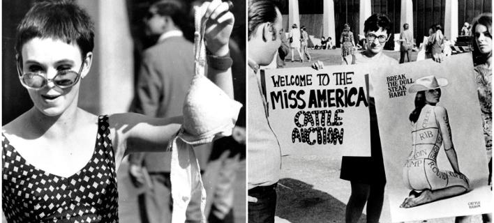 Η διαμαρτυρία των γυναικών με τον διαγωνισμό ομορφιάς Miss America το 1968 /Φωτογραφία: AP