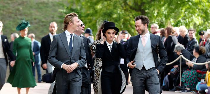 Η Κάρα Ντελεβίν στον βασιλικό γάμο/ Φωτογραφία Gareth Fuller/Ap