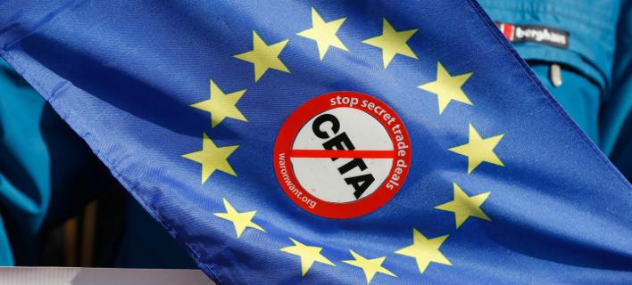 Η συμφωνία CETA είχε προκαλέσει αντιδράσεις/Φωτογραφία αρχείου: ΑΡ//Jean-Francois Badias