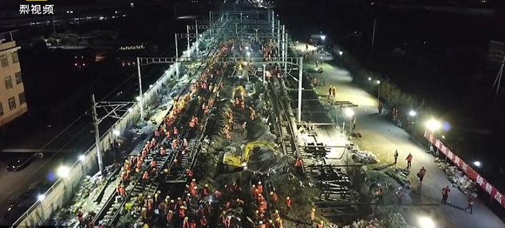 Αποτέλεσμα εικόνας για 1.500 Κινέζοι σε εννέα ώρες συνέδεσαν τρεις σιδηροδρομικές γραμμές