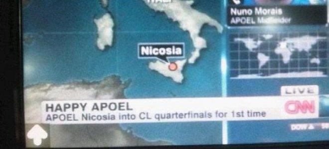 Λευκωσία, Κύπρος, ΑΠΟΕΛ, νίκη, Λιόν, Λυών, ομάδα, Σικελία, CNN, κανάλι, δίκτυο,