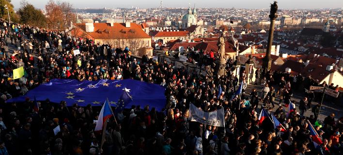 Διαδηλωτές στην Τσεχία/Φωτογραφία: ΑΡ