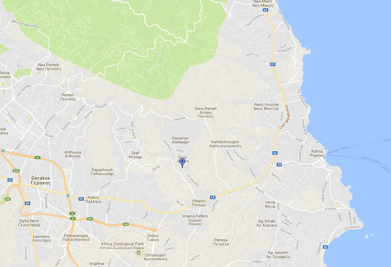 Χάρτης της περιοχής: Η Διώνη, στην εντελώς αντίθετη πλευρά από αυτήν που κατευθύνθηκε η φωτιά