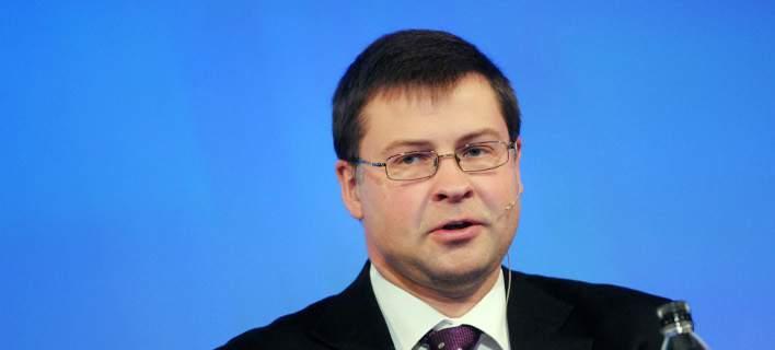 Ο αντιπρόεδρος της Κομισιόν Βάλντις Ντομπρόφσκις/Φωτογραφία: Eurokinissi