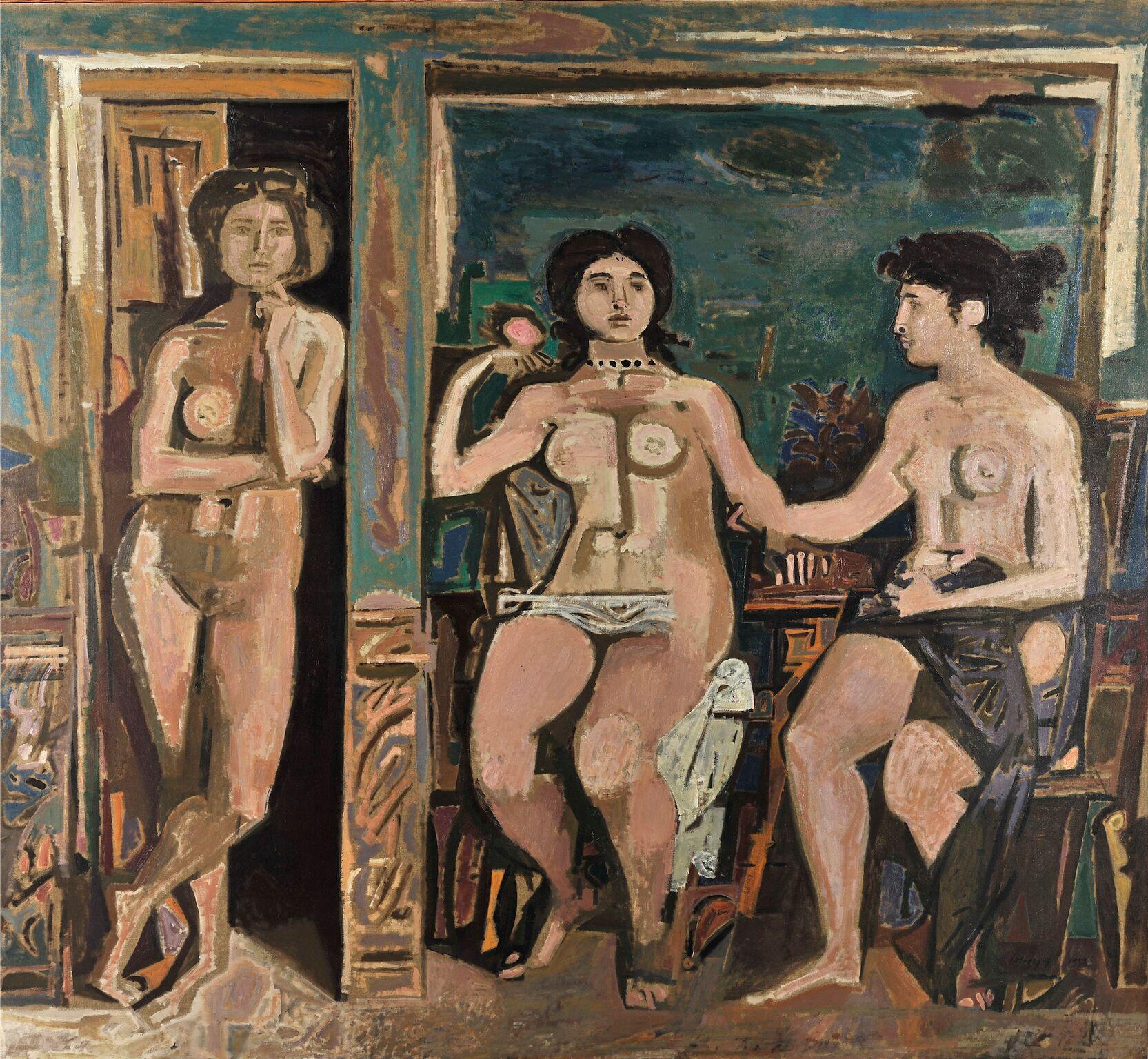 Επιτύμβιο, 1958, Λάδι σε μουσαμά, Εθνική Πινακοθήκη-Μουσείο Αλεξάνδρου Σούτσου Π.2432. ©Εθνική Πινακοθήκη-Μουσείο Αλεξάνδρου Σούτσου, Φωτ. Σταύρος Ψηρούκης