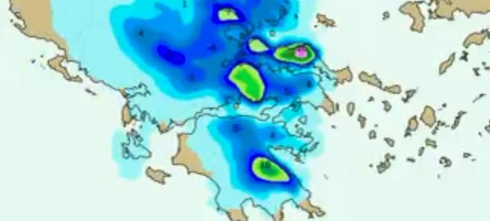 O χιονιάς στην κορύφωση του θα «τυλίξει» σχεδόν όλη την Αττική / Πηγή: EMY