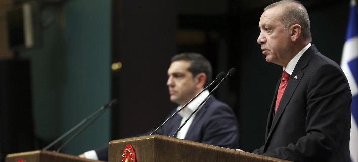 Ο Ταγίπ Ερντογάν στη συνέντευξη Τύπου με τον Αλέξη Τσίπρα / Φωτογραφία: INTIMENEWS/ΜΕΧΜΕΤ ΣΙΡΙΝ ΤΟΠΑΛΟΓΛΟΥ