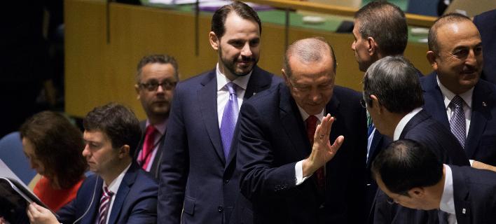 O Tούρκος πρόεδρος Ταγίπ Ερντογάν στη γενική συνέλευση του ΟΗΕ (Φωτογραφία: AP/Mary Altaffer)