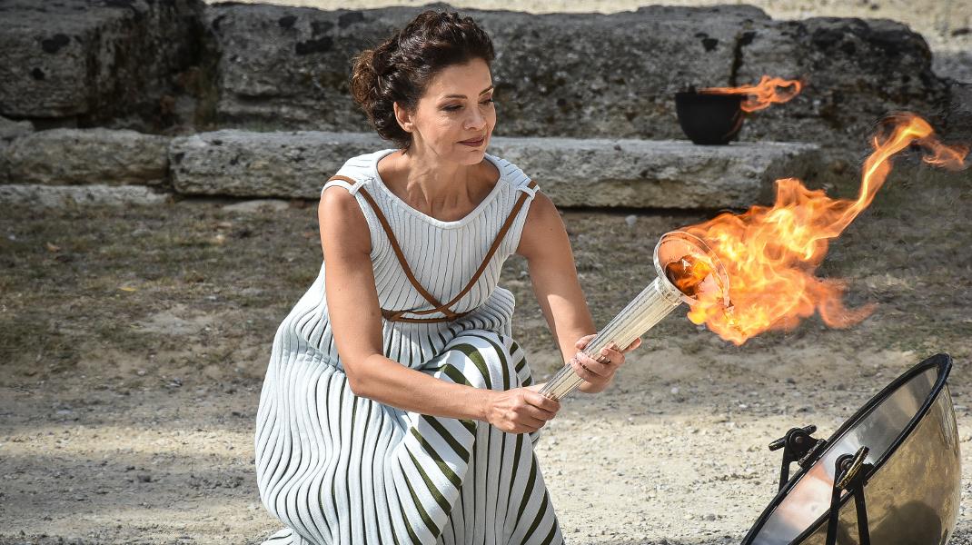 Η πρωθιέρεια Κατερίνα Λέχου στην τελική πρόβα Αφής της Φλόγας για τους χειμερινούς Ολυμπιακούς Αγώνες -Φωτογραφία: EUROKINISSI/ Βασίλης Κουτρουμάνος