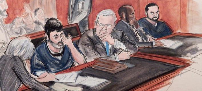 Οι δύο ανιψιοί της Σίλια Φλόρες στο δικαστήριο στη Νέα Υόρκη (Φωτογραφία: ΑΡ)