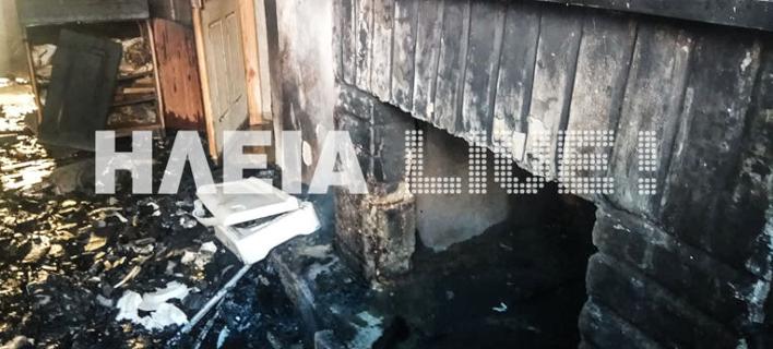 Το τζάκι απ' όπου φαίνεται πως ξεκίνησε η πυρκαγιά / Φωτογραφία: ilialive.gr