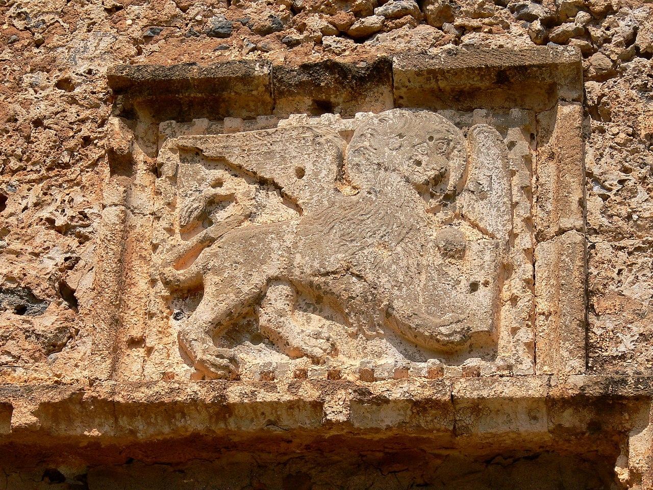 Το λιοντάρι του Αγίου Μάρκου πάνω από τη νότια πύλη του Φραγκοκάστελλου