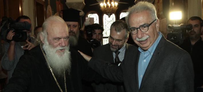 Ο Αρχιεπίσκοπος Ιερώνυμος & ο Κώστας Γαβρόγλου (Φωτογραφία: Eurokinissi/ΧΡΗΣΤΟΣ ΜΠΟΝΗΣ)