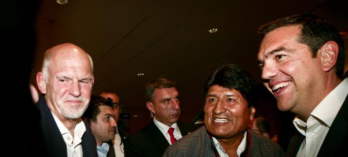 Ο Γιώργος Παπανδρέου στην εκδήλωση Τσίπρα-Μοράλες στο ΚΠΙΣΝ