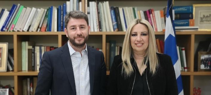 Ο Νίκος Ανδρουλάκης (αριστερά) και η Φώφη Γεννηματά (δεξιά)