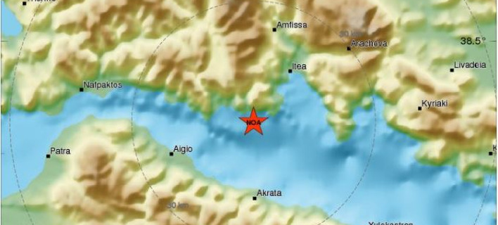 Ισχυρός σεισμός σημειώθηκε κοντά στο Γαλαξίδι