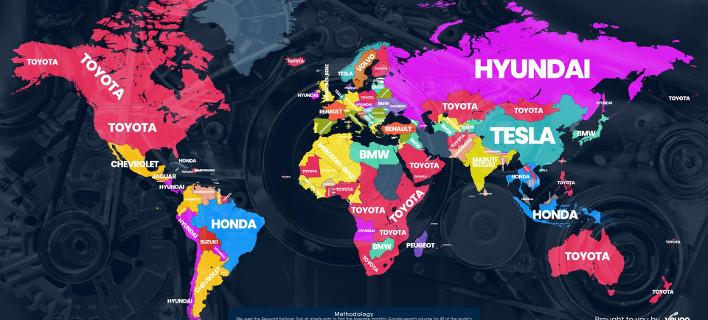 Ο παγκόσμιος χάρτης με τις αυτοκινήτων αναζητήσεις στο Google