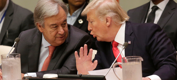 Αντόνιο Γκουτέρες & Ντόναλντ Τραμπ (Φωτογραφία: AP Photo/Seth Wenig)