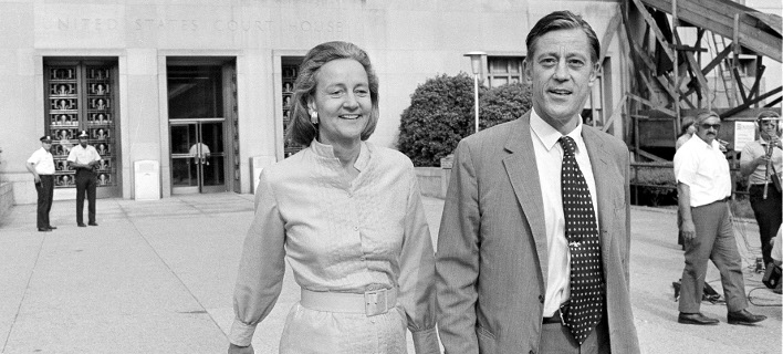 H Γκράχαμ και ο Μπράντλι έξω από το δικαστήριο της Ουάσιγκτον, Ιούνιος 1971. Φωτογραφία: AP Photo