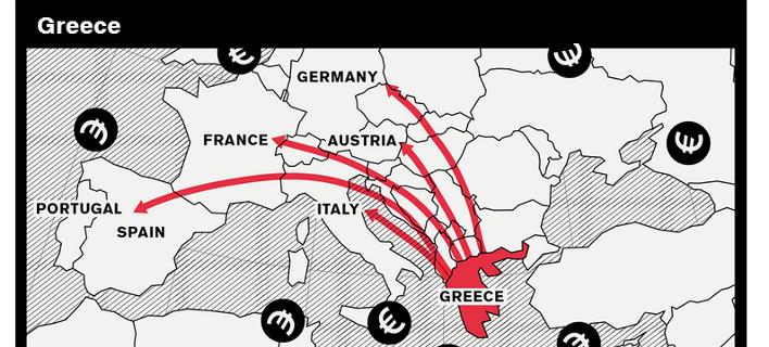 Bloomberg: Η Ελλάδα βρίσκεται στο «χάρτη της Κόλασης» για το 2015 [εικόνα]
