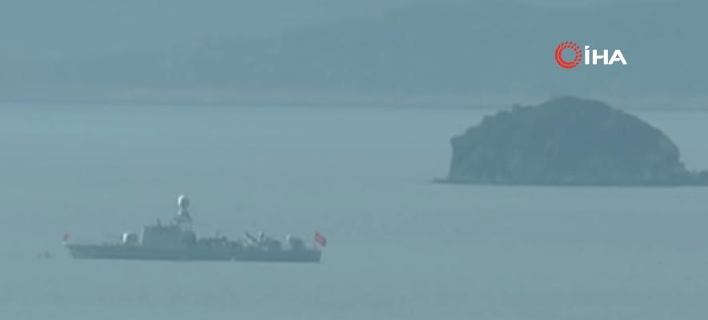 Σημερινές εικόνες από τα τουρκικά πλοία στα Ιμια / Φωτογραφία: YouTube
