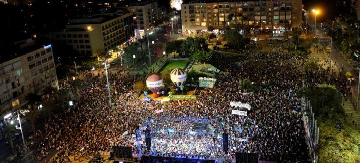 Ισραήλ: Χιλιάδες πολίτες διαδήλωσαν στο Τελ Αβίβ για την 23η επέτειο της δολοφονίας του Ράμπιν (Φωτογραφία: Twitter)