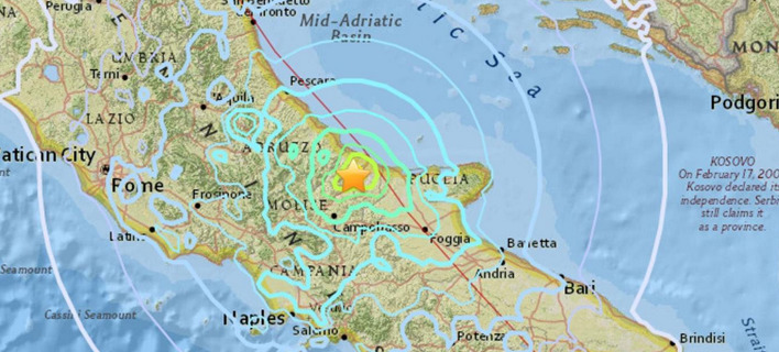 Ιταλία: Στους 5,1 βαθμούς αναθεωρήθηκε ο σεισμός στην περιφέρεια Μολίζε