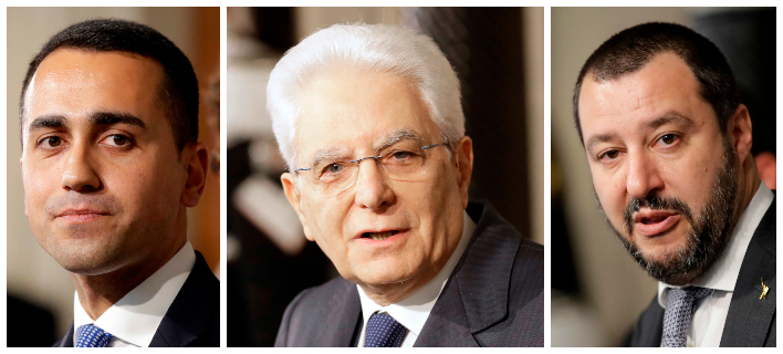 Λουίτζι Ντι Μάιο, Σέρτζιο Ματαρέλα και Ματτέο Σαλβίνι -Φωτογραφίες: AP