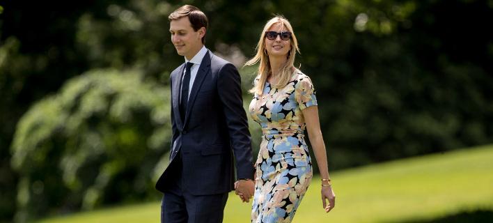 Η Ιβάνκα Τραμπ με το σύζυγό της, Τζάρεντ Κούσνερ. Φωτογραφία: AP