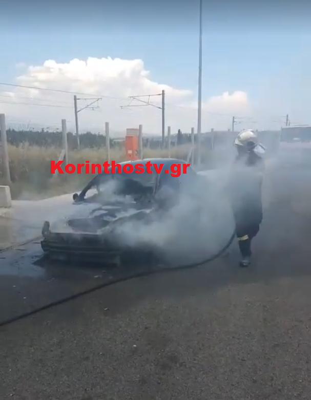 Ο οδηγός δεν κατάφερε να σβήσει μόνος του τη φωτιά και κάλεσε την Πυροσβεστική