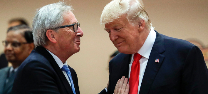 Ζαν Κλοντ Γιούνκερ & Ντόναλντ Τραμπ (Φωτογραφία: AP Photo/Markus Schreiber, pool)