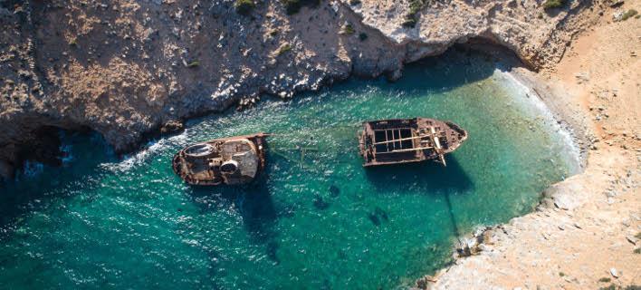 Το ναυάγιο «Ολυμπία» στην Αμοργό/ Φωτογραφία: EUROKINISSI- ΑΝΤΩΝΗΣ ΝΙΚΟΛΟΠΟΥΛΟΣ