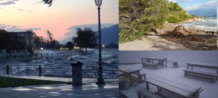 Επέλαση «Ξενοφώντα»: Πτώσεις δέντρων, δεμένα πλοία, χιόνια -Σοβαρά προβλήματα